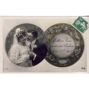 CARTE POSTALE MARIAGE - MEILLEURS VOEUX POUR VOTRE BONHEUR LE 4-8-1908