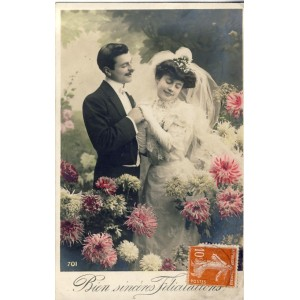 CARTE POSTALE MARIAGE - BIEN SINCERES FELICITATIONS
