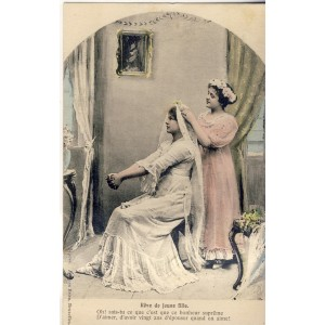 CARTE POSTALE MARIAGE - REVE DE JEUNE FILLE