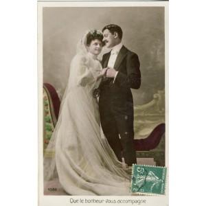 CARTE POSTALE MARIAGE - QUE LE BONHEUR VOUS ACCOMPAGNE