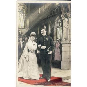 CARTE POSTALE MARIAGE - SORTIE DE L'EGLISE