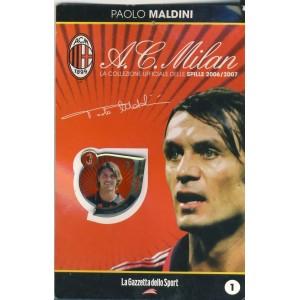 PIN'S PAOLO MALDINI SUR CARTE A.C. MILAN