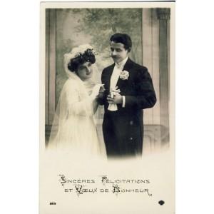 CARTE POSTALE MARIAGE - SINCERES FELICITATIONS ET VOEUX DE BONHEUR