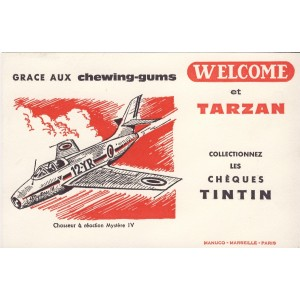 BUVARD CHEWING-GUM WELCOME ET TARZAN