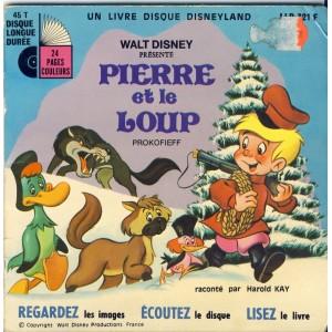 LIVRE-DISQUE 45 TOURS - PIERRE ET LE LOUP - WALT DISNEY