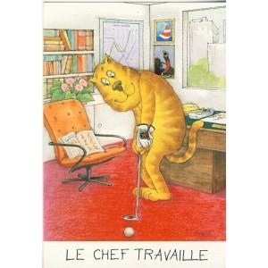 CARTE POSTALE CHATS HUMANISES - LE GOLFEUR.  LE CHEF TRAVAILLE