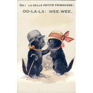 CARTE POSTALE CHATS HUMANISES - OH ! LA BELLE PETITE FRIMOUSSE