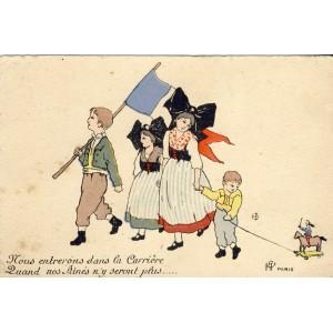 CARTE POSTALE HENRIETTE DELALAIN - NOUS ENTRERONS DANS LA CARRIERE...