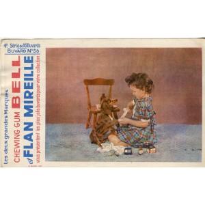 BUVARD CHEWING GUM BELL ET FLAN MIREILLE - 4ème SERIE N° 56