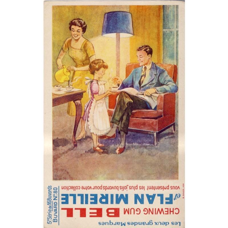 BUVARD CHEWING GUM BELL ET FLAN MIREILLE - 5ème SERIE N°80