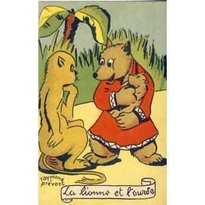CARTE POSTALE RAYMOND PREVOST - LA LIONNE ET L'OURSE
