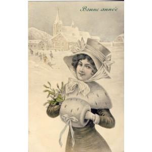 CARTE POSTALE  V. K. VIENNE - JEUNE FEMME AU CHAPEAU