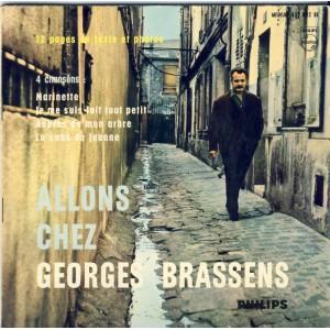 LIVRE-DISQUE 45 TOURS 17 cm EP - BIEM ET 12 PAGES DE TEXTE ET PHOTOS EN NOIR ET BLANC : ALLONS CHEZ GEORGES BRASSENS