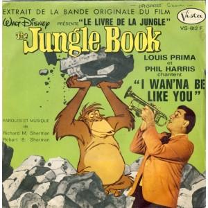 """DISQUE 45 TOURS - THE JUNGLE BOOK - WALT DISNEY.  EXTRAIT DE LA BANDE ORIGINALE DU FILM """"LE LIVRE DE LA JUNGLE"""""""