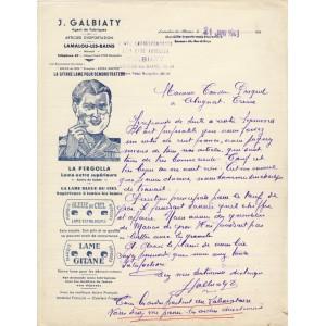 FACTURE LAMES DE RASOIRS J. GALBIATY - LAMALOU LES BAINS