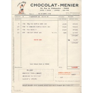 FACTURE CHOCOLAT MENIER PARIS 1939