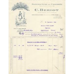 FACTURE MANUFACTURE DE CHICOREE - A LA BELLE JARDINIERE