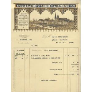 FACTURE CHOCOLATERIE DE L'ABBAYE DE TINCHEBRAY (Orne)