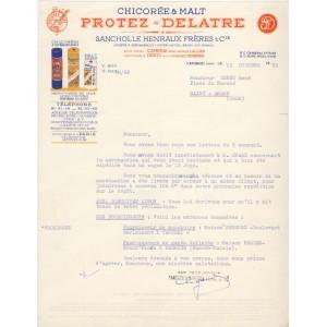 LETTRE  CHICOREE ET MALT PROTEZ - DELATRE - CAMBRAY (Nord)