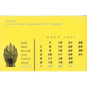 BUVARD VITATHION - GROSSESSE. CALENDRIER AOUT 1961