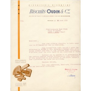 LETTRE BISCUITS OUDIN & Cie - BESANCON