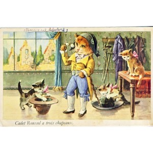 CARTE POSTALE CHATS HUMANISES - CADET ROUSSEL