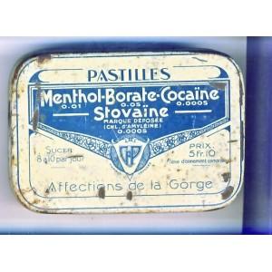 BOITE DE PASTILLES MENTHOL-BORATE-COCAINE - METAL