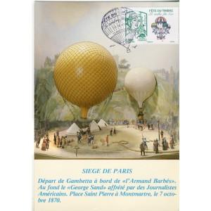 FETE DU TIMBRE 2013 - CARTE MAXIMUM LE TIMBRE FETE L'AIR - MUSEE DES BALLONS
