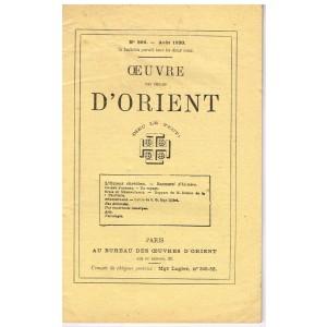 BULLETIN  - OEUVRE DES ECOLES D'ORIENT N° 396 D'AOUT 1930