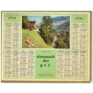 CALENDRIER ALMANACH DES POSTES 1961 - JOIE DE VIVRE
