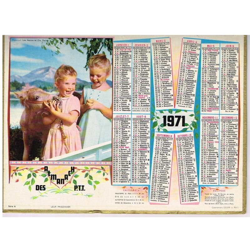 CALENDRIER ALMANACH DES PTT 1971 - FILLETTES ET PONEY