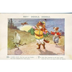 CARTE POSTALE CHATS HUMANISES HEY ! DIDDLE DIDLLE SIGNEE A. E. KENNEDY