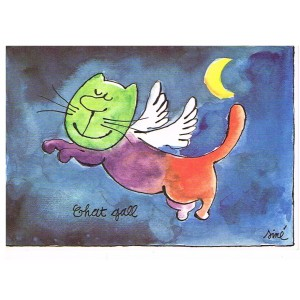 CARTE POSTALE CHAT GALL SIGNEE SINE