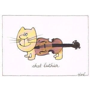 CARTE POSTALE CHAT LUTHIER SIGNEE SINE