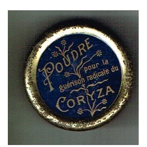 BOITE ancienne en métal de POUDRE POUR CORYZA