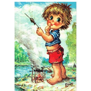 Carte Postale de MICHEL THOMAS, Série GAMINS - LA BELLE BROCHETTE