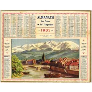 CALENDRIER ALMANACH 1931 LA CHAINE DES ALPES