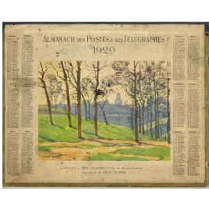CALENDRIER ALMANACH DES POSTES 1929 BREST