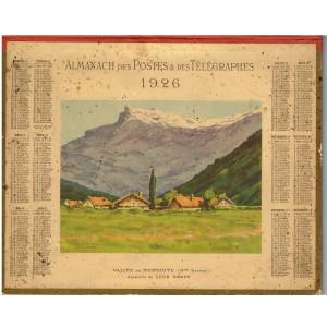 CALENDRIER ALMANACH DES POSTES ET DES TELEGRAPHES 1926 VALLEE DE MONTJOYE