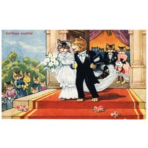 CARTE POSTALE CHATS HUMANISES - CORTEGE NUPTIAL