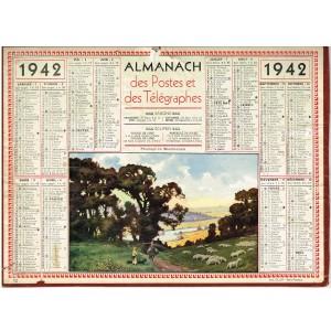 CALENDRIER ALMANACH  1942 - PATURAGE EN BOURBONNAIS