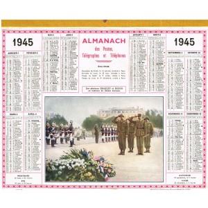 CALENDRIER ALMANACH  1945 - LES GENERAUX BRADLEY ET KOENIG