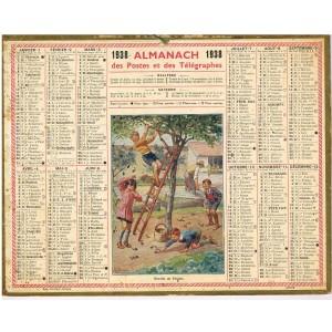 CALENDRIER ALMANACH 1938 - RECOLTE DE PRUNES