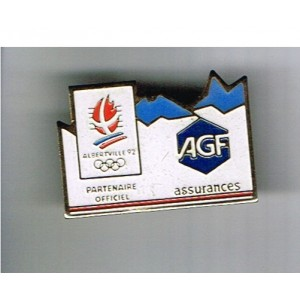 PIN'S J.O. ALBERTVILLE 92 - AGF  ASSURANCES  METAL EMAILLE.