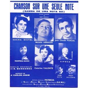 PARTITION DE SACHA DISTEL - CHANSON SUR UNE SEULE NOTE