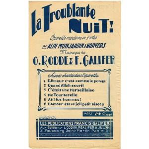 PARTITION - OPERETTE - LA TROUBLANTE NUIT