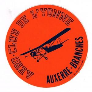 AUTOCOLLANT AERO-CLUB DE L'YONNE - AUXERRE-BRANCHES
