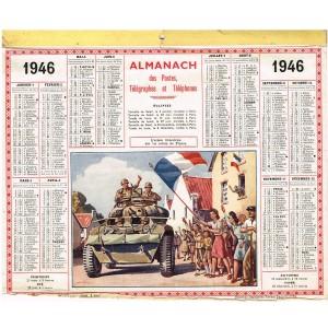 CALENDRIER ALMANACH DES POSTES TELEGRAPHES ET TELEPHONES 1946