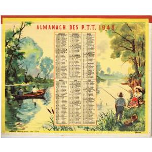 CALENDRIER ALMANACH DES PTT 1948 - PECHE ET CHASSE.