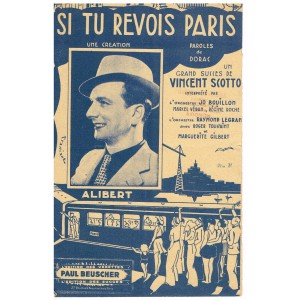 PARTITION DE ALIBERT - SI TU REVOIS PARIS -  VINCENT SCOTTO